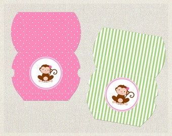 Printable Birthday Pillow Treat Boxes Favor Box Monkey Green 1st 2nd 3rd Pink Girls IV-1