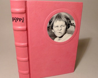Pippi Longstocking Buch 1972 Astrid Lindgren unique leather binding communication No. 760 art book binding