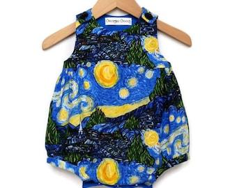 Starry Night, Van Gogh, Baby Romper, Baby Girl Clothes, Take Home, Bubble Romper, Baby Shower Gift, Newborn, Art Teacher Gift, Artist Gift