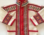 Kids Scandinavian Coat- Saami Folk Art w Decorative Folk Trim Enchanting! - Wool - Norway Sweden Finland - Native Nordic Sami - Samii Coat
