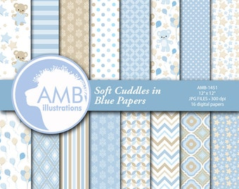 Baby Boy Digital Papers, Nursery papers, Baby Boy Shower, Teddy Bear backgorunds, It's a Boy Scrapbook, Commercial Use, AMB-1451