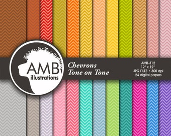 Chevron digital papers, Scrapbooking backgrounds, Tone on Tone Colors, Classic chevron pattern, commercial use, AMB-312
