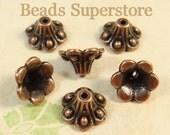 10 mm x 6 mm Antique Copper Flower Bead Cap - Nickel Free, Lead Free and Cadmium Free - 20 pcs