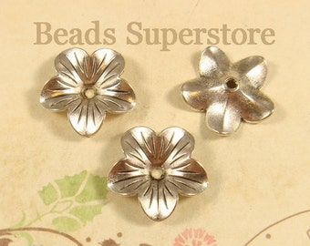SALE 18 mm x 5 mm Antique Silver Flower Bead Cap - Nickel Free, Lead Free and Cadmium Free - 10 pcs