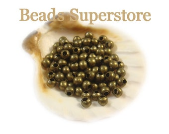 3.2 mm Antique Bronze Round Bead - Nickel Free and Lead Free - 100 pcs (3MMAB)