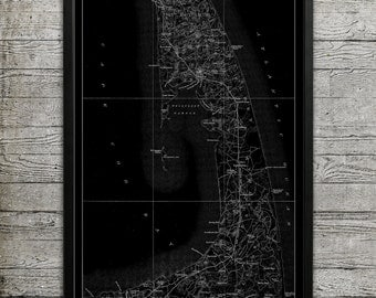 Map of CAPE COD Print, Wall Decor for your Home or Office