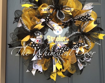 Pittsburgh Steelers NFL Football Decomesh Wreath Black Yellow  Draft Day Father's Day Polkadot