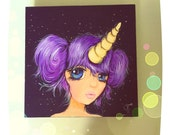 8x8 inch Fine Art Painting of a Big Eyed Purple Hair Unicorn Manga Girl