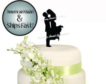Silhouette Romantic Couple Wedding Cake Topper #507