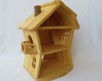 Handmade wooden forest dollhouse - House consists of two floors and an attic. Natural Wooden Dollhouse Waldorf Montessori Handcrafted Toy