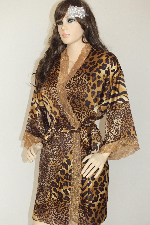 Animal print silk robe short and long kimono robe bridesmaid zoom ombrellifo Choice Image