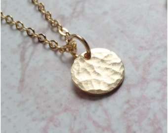Hammered Gold Disc Necklace - Tiny 14k Gold Necklace - Classic Circle Pendant Necklace - Long Gold Necklace - Textured Gold Necklace for Her