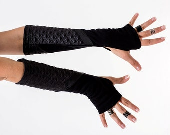 20% OFF Black sci fi arm warmers jersey futuristic fingerless gloves - Z-ARW Q4