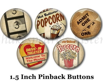 """Retro 50's Style Pins - 5 Pinback Buttons - 1.5"""" Pinbacks - Movie Theater - Drive-In Theater - Popcorn Pins"""