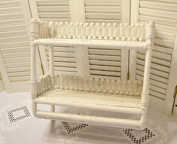 vintage white wicker shelf unit towel rack two shelves. Black Bedroom Furniture Sets. Home Design Ideas