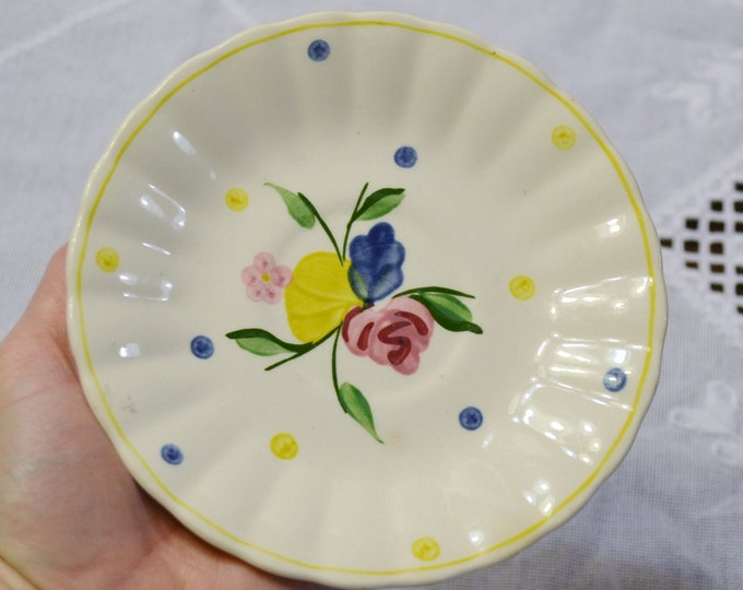 Vintage Blue Ridge Pottery Saucer Pink Blue Yellow Flower Southern Potteries SPI PanchosPorch