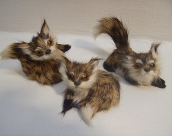 Fox Figures 3 Pc Set Furry Animals collectibles