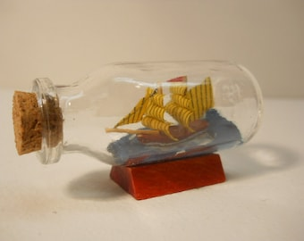 Vintage Small Glass Ship in the Bottle with Cork  #Msl151
