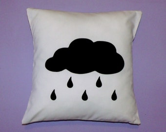 Cloud cushion cover  - monochrome nursery throw pillow/ baby shower gift/ black & white nursery decor - CLEARANCE