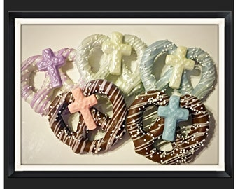 Cross pretzels -Communion, baptism, christening chocolate covered pretzels- set of 12