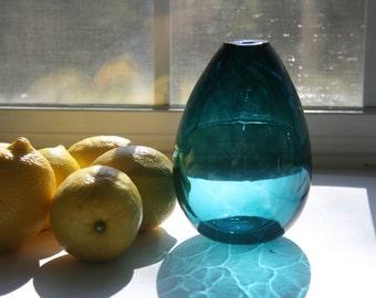 Hand Blown Glass  Bud Vase, Teal, Blue Green, Handblown, Teardrop Vase, Minimalist, Modern, Cottage Chic, The Studio at Penny Lane