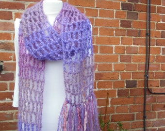 Skinny Mohair Crochet Long Scarf,Vibrant and Warm