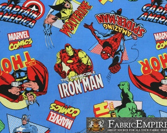 100% Cotton Fabric Quilt Prints Marvel The Avengers Ironman Spiderman Hulk Captain America Licensed Sold By The Yard N-Cotton-72-OT