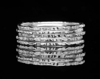 Hammered Silver Stacking Rings, Sold Per Ring, Knuckle Ring, Thin Stackable Argentium Silver, Delicate Silver Band, Stack Ring, Soul Creek