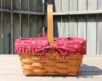 Longaberger Basket-1991 Spring Basket with Wood Divider