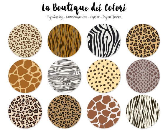 Animal Prints Circles Clipart, Cute Circle Clip art. Round Safari ...