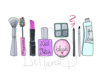Fashion illustration, Fashion illustrated, Makeup illustration, Girly illustration, Makeup Posters, Wall art makeup, Glam print, Girly print
