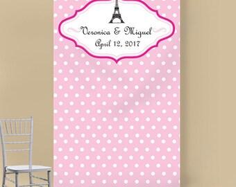 Paris Polka Dots Personalized Photo Booth Backdrops (ENWFJM775014)