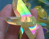 Large Sunshine Magic Aura Quartz Crystal Cluster Twin Points