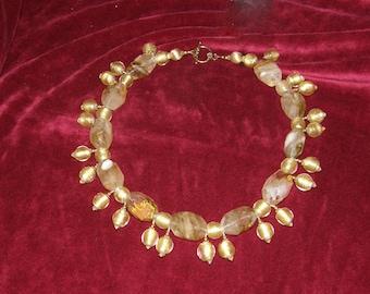 Quartz,Gold,Gold Foil,Honey fire, honey fire quartz,West African encased gold foil,Japanese shirred gold, woman's necklace,dress necklace