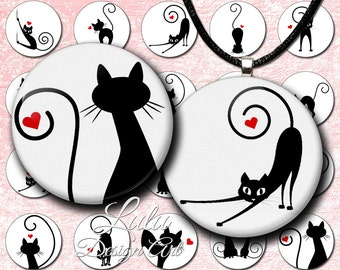 "Cat circle images : ""In Love Cats"" 1 inch circle images with black cats on white background, round images, cat silhouette, cat images"