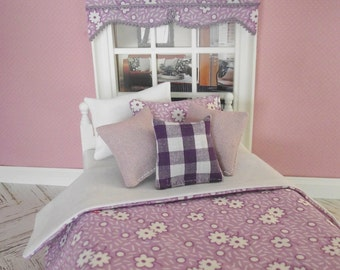 Handmade 12th scale doll house bedding set for a single bed 6 piece lilac