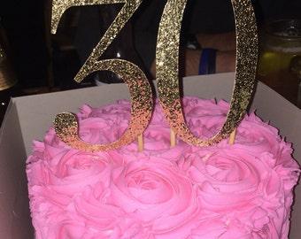 Gold glittery cake topper