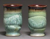 Tumblers--patina green and temmoku glazes