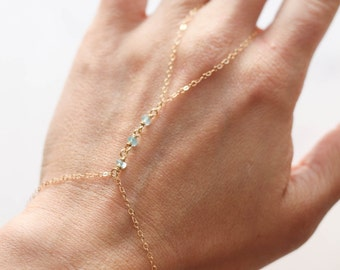 Blue Apatite Hand Bracelet