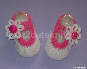 Hand Knitted Designer Baby Girl Booties Mary Jane Newborn Special Occasion Baby Shower Original Reborn Doll #65