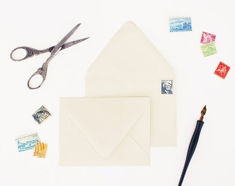 Envelopes - A2 Size - Set of 25 - Cream Color - Deep V Euro Flap
