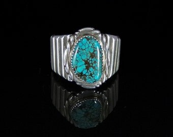 Chinese Spider Web Turquoise Mens Ring Sterling Silver Handmade Size 11.5, R0447