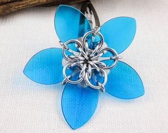 Transparent Blue Flower Hair Clip