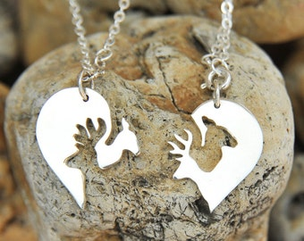 Buck and Doe necklace, silver buck and doe heart jewelry, his and hers, couples necklace, couples gift, wedding gift for couple
