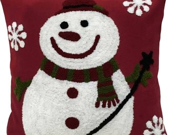 Snowman Hand embroidered Pillow