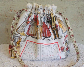 Drawstring Pouch Made from a Calendar Tea Towel Featuring Swiss Costumes