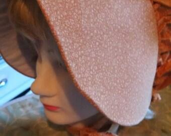 Print floral ladies sunbonnet prairie hat. Reenactment costume.
