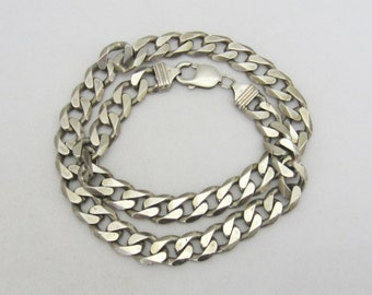 Vintage Italian Sterling Silver Link Chain Necklace 18'' Length