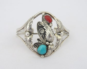 Vintage Southwestern Sterling Silver Turquoise & Red Coral Leaf Cuff Bracelet