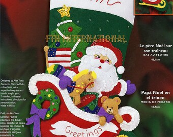 "Bucilla Santa In The Sleigh ~ 18"" Felt Christmas Stocking Kit #84758, Tree, Toys DIY"